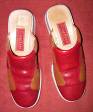 COLE HAAN STUDIO & NIKE AIR RED/CAMEL LEATHER COMFORT SLIDES, 6.5 M, BARELY WORN