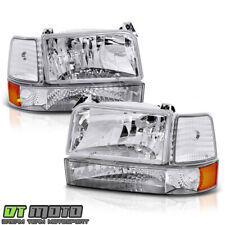 1992-1996 Ford F150 F250 F350 Bronco Headlights w/Corner Signal Bumper Lamps 6pc