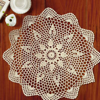 4Pcs/Lot Vintage Hand Crochet Cotton Doilies Mats Round Lace Table Topper 13-16""