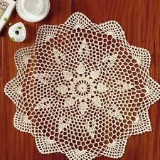 Vintage Round Hand Crochet Lace Doily Beige/Ecru Table Placemat 13.7-15.7inch