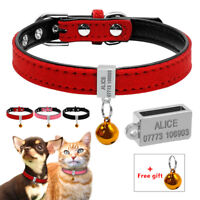 Soft Suede Leather Personalised Pet Dog Collars for Small Dog Puppy Cat Pink Red