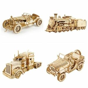 3D Wooden Puzzle Train/Jeep Model Kits Puzzle Toy DIY Wooden Toy Gifts for Kids