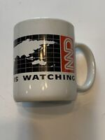 Vintage 90s Classic CNN News Logo  Coffee Mug White w Red & Black Letters