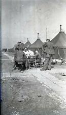 Vintage WWII Negative Photo Soldiers Poker Game Cards in Camp Outside Tents