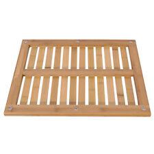 US Bathroom Rectangular Shower Mat Natural Bamboo Home Floor Wood Color Non-Slip