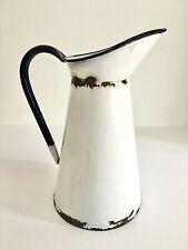 More details for real vintage enamel jug pitcher, vase, decoration, rustic bathroom decoration