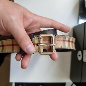 Burberry Belt Canvas and Leather Unisex 95cm 34 waist