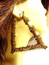 TRAPEZOID BAMBOO EARRINGS GOLD TONE HOOP EARRINGS 3.5 INCH TRIANGLE BAMBOO