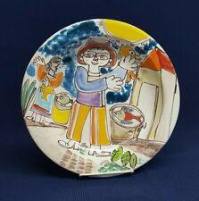 "Vg Giovanni Desimone MAN with FISH Italian Art Pottery 10"" Rim Soup PASTA BOWL"