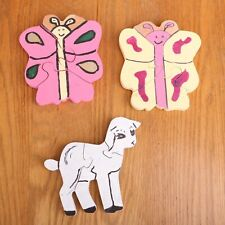 3 Wood Animal Hand Crafted Wood Puzzle Wall Art Folk Art Butterfly Sheep