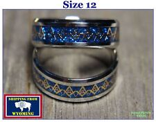 Tungsten Steel Freemasonic Gold & Blue Ring - Size 12