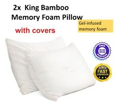 2x King Bamboo Memory Foam Pillow Adjustable Thickness Gel Infused Twin Pack