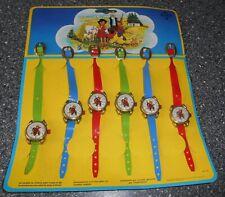Vintage Kinderspielzeug - Papp Display - 6 Kinder Armbanduhren Blech - Heidi