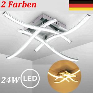24W LED Design Deckenlampe Wohnzimmer Deckenleuchte modern Wellenoptik schwarz