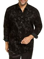 INC Mens Shirt Black Size Big 2X Big&Tall Flocked Paisley Button Down $79 158