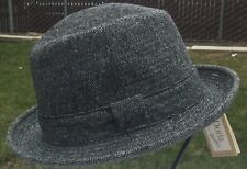 BORSALINO 100% WOOL FEDORA TRILBY GRAY GREY 54 STINGY BRIM 6 3/4 Pork Pie XS