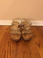 Stuart Weitzman Gold Glitter Espadrille Wedge Sandals 8.5