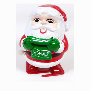 """Wind Up Walking Santa Clause Cute Christmas Plastic Toy Figure Works 2 1/2"""" Tall"""