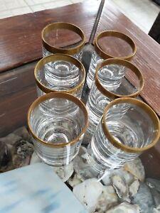 6 x Schnapsgläser Gold hand craft crystal shot Glass Germany Bavaria 60s vintage