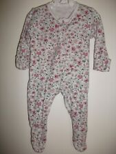 Baby Girls White Bunny Floral print sleepsuit - Age 0-3 Months