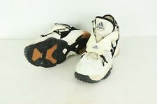 Vintage 90s Adidas Mens 11 Spell Out Leather Turf Shoes Sneakers White Black