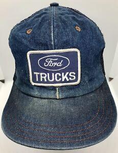 Vintage Ford Trucks Denim Patch Trucker Hat Snapback Mesh Blue Automotive