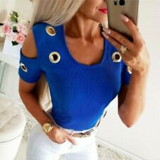 Women Casual O-Neck Solid Shirts Short Sleeve Strapless Metal Ring Tops Blouse