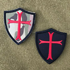 US NAVY SEALS CRUSADER CROSS VELCRO® BRAND HOOK EMBROIDERED SHIELD MORALE PATCH