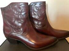 FRYE Shane Western Ankle Boot Womens 9.5 B Short Bordeaux Burgundy $378 New