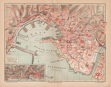 Antique map. ITALY. CITY MAP OF GENOA. 1905