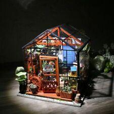 ROBOTIME DIY Greenhouse Dollhouse Wooden Miniature Garden Kits Toy Gift for Girl