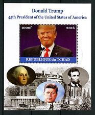 Chad 2016 CTO Donald Trump 45th US Presidents 1v M/S JFK Kennedy Lincoln Stamps