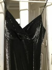 Shimmering Elegant Black Cache Dress Long Spaghetti Strap Size 8