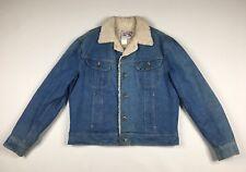 Vintage Lee Storm Rider Sherpa Lined Denim Jean Trucker Jacket Sz 44L USA Made