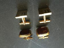 2 paires Beaux boutons de manchette métal doré et plaqué or cufflinks