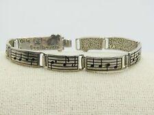 """Sterling Beethoven Ode to Joy Bracelet, 7"""", 8mm Wide, 17.11 Grams, Hook Clasp"""