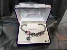 """Connections from Hallmark Multi-Crystal Stainless Steel """"I Love You"""" Charm Bra.."""