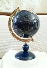 Original Lapis Lazuli Tabletop World Globe Inlaid Semiprecious Gemstone
