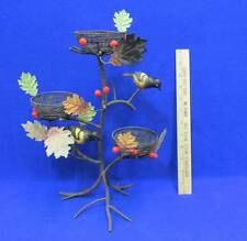 Birds & Nest Candle Holder Wrought Iron Tree Branch Tea Lights Nature Berry Leaf