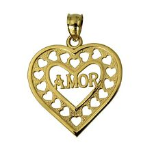 "14K Real Yellow Gold ""A MOR"" Heart Charm Pendant"