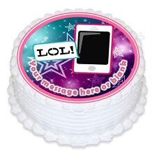 ND1 Teen Teenager mobile phone iphone  personalised round cake topper icing