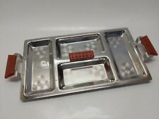 Retro Etched Appetizer Serving Tray Stainless Steel Bakelite Handles