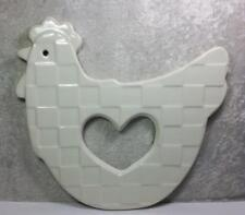 Ceramic Chicken Wall Art Plaque Farmhouse Cottage Country Basket Weave Detail