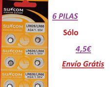 AG4 377A LR66 Pilas alcalinas botón 6 und. Alkaline Button Cell Battery Suncom