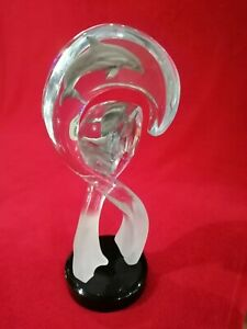 Signed Contemporary Sculpture by Dan Medina of Pewter Dolphins encased in Lucite