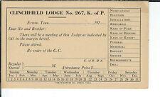 AX-142 - Clinchfield Lodge No 267 Knights of Pythias Meeting Postcard, Erwin, TN