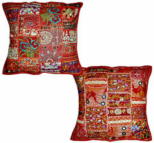 2pc Red Vintage Bohemian Indian throw Pillow Red, decorative gypsy throw pillow