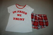 Womens Pajama Set S/S TEE SHIRT In Fries We Trust SHORTS Red Blue Plaid L 12-14