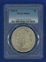 1921 S PCGS MS62 Morgan Silver Dollar $1 Better Date 1921-S PCGS MS-62