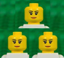 LEGO Head [pack of 3] Female Eyelashes and Peach Lips girl princess woman #005
